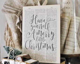 Have Yourself A Merry Little Christmas Vintage Dictionary Book Page Wall Art Print Farmhouse Christmas Decor Fixer Upper  Carol