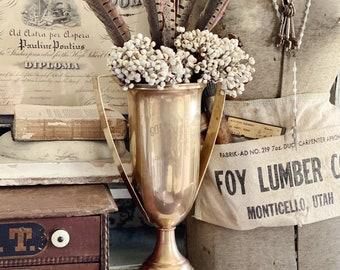 Antique Brass Loving Cup Trophy HUGE Farmhouse Decor Industrial Salvage GOLDEN WEDDING 1896-1946