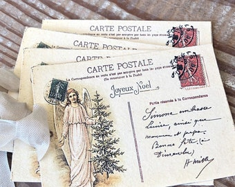 ANGEL Christmas Gift Tags Vintage POST CARD Farmhouse Decor Card French Shabby Gift Wrap Christmas Tree Ornament