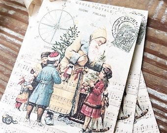 Christmas Vintage Gift Tags SANTA CLAUS St Nick with Children Compass Farmhouse Christmas Decor Card French Shabby Gift Wrap