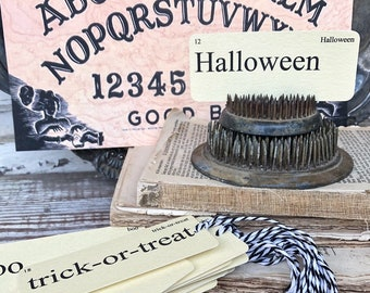 HALLOWEEN Flash Cards Gift Tags Vintage Flashcard Farmhouse Decor SET OF 14 Party Favor Banner Decoration