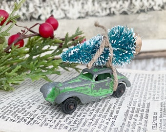 Vintage GREEN Toy Car With Flocked Green Bottle Brush Tree Vintage Toy Farmhouse Christmas