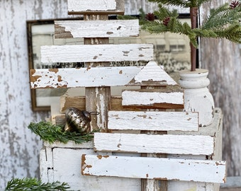 Salvage Barn Wood CHRISTMAS TREE Sign Reclaimed WHITE Chippy Paint White Farmhouse Decor Architectural Decor Christmas Decor Large