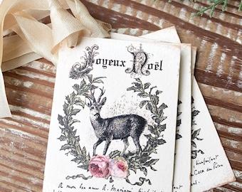 Christmas Gift Tags Vintage Deer JOYEUX NOEL Laurel Wreath Pink Roses Farmhouse Decor Card  Gift Wrap Christmas Stag Buck