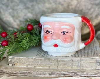 Vintage Ironstone Santa Claus Cup Mug FULL SIZE  Santa Hand Painted Farmhouse Christmas Decor Stacking Footed Stackable