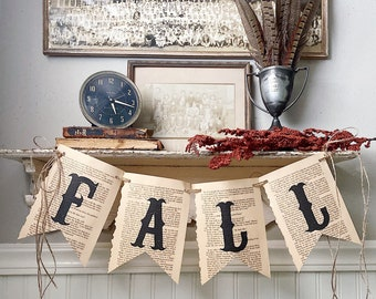 FALL Banner Vintage Book Page Bunting Pennant Sign Farmhouse Decor Garland Rustic Book Page Art