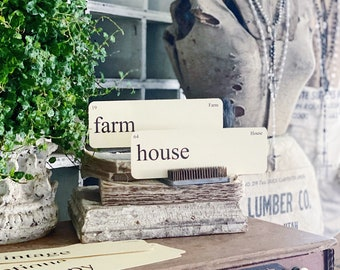 FARMHOUSE Flash Cards LARGE Vintage Inspired Flashcard SET of 8 Farmhouse Decor Cottage Party Favor Banner