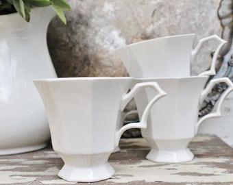 Vintage Ironstone Cups INDEPENDENCE White Footed Pedestal Tea Coffee Cups  Farmhouse Decor