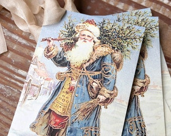 Christmas Vintage Gift Tags SANTA CLAUS St Nick with Tree Farmhouse Christmas Decor Card French Shabby Gift Wrap