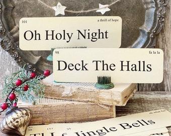 CHRISTMAS CAROLS Flash Cards LARGE Vintage Inspired Flashcard Set Of 8 Farmhouse Decor Holiday Primitive Christmas