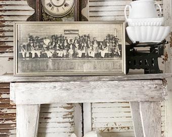Antique Panoramic Framed JOHN PERSHING BAND 1937 Texas Wall Art Print Farmhouse Decor Industrial Decor School  Photo Children Kids