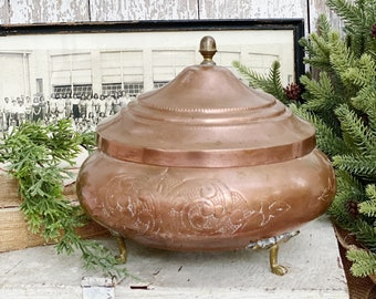Antique Copper Footed Brass Tureen Bowl with Lid Farmhouse Primitive Vintage Decor