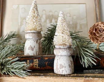 Christmas Bottle Brush Tree Salvaged Wood Base WHITE MINI Flocked Tree Vintage Antique Architectural Chippy  Farmhouse Christmas Decor