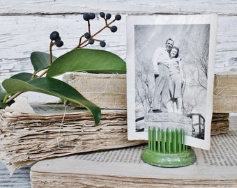 Vintage Metal Floral Frog Green Flower Spike Holder Farmhouse Decor Fixer Upper Decor