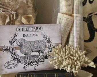 Vintage SHEEP FARM  Wood Sign Farmhouse Decor Grainsack Book Page Wall Art Print
