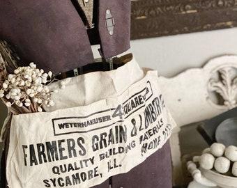 Vintage Nail Apron FARMERS GRAIN & LUMBER Company Hardware Farmhouse Decor Industrial Black Typography Paint