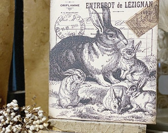 Vintage Easter Sign RABBIT FAMILY Post Card Wood Sign French Farmhouse Decor Book Page Wall Art Print Farmhouse Decor