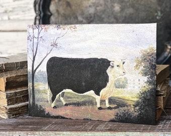 Vintage COW BULL Black White Hereford Wood Sign Primitive Farmhouse Decor Illustration Book Page Wall Art Print Pasture Farm Antique Image