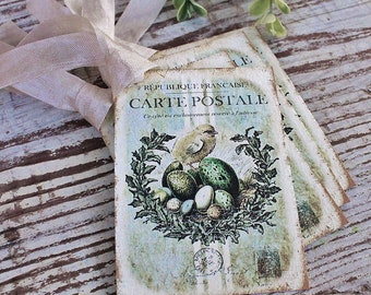EASTER Vintage Gift Tags Chicks Eggs Grain Sack Laurel Wreath French Farmhouse Decor Card  Shabby