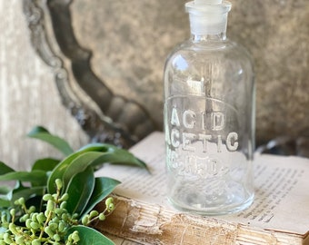 Antique Glass Apothecary Bottle with Stopper Pharmacy Farmhouse Industrial Decor Industrial MEDICAL Salvage ACID ACETIC T C W