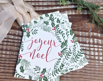 JOYEUX NOEL Christmas Gift Tags Vintage Christmas Card Holly Mistletoe Farmhouse Christmas Decor French Gift Wrap