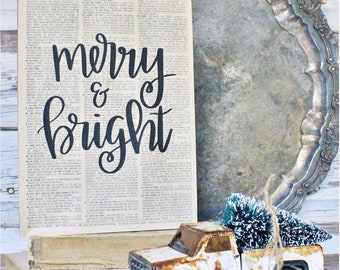 Merry and Bright Sign Vintage Dictionary Art Print Farmhouse Christmas Decor Fixer Upper Decor Christmas Carol Book Page Wall Sign