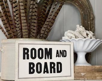 ROOM AND BOARD Wood Sign Vintage Farmhouse Decor Wall Art Print Fixer Upper Flea Market Decor Black Aged Cream Rent Sign