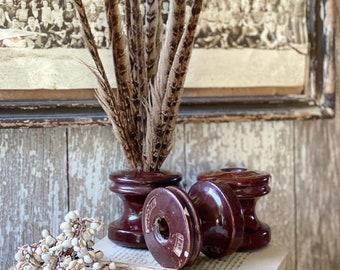 Vintage Brown Ceramic Insulator Part Base Industrial Salvage Farmhouse Decor