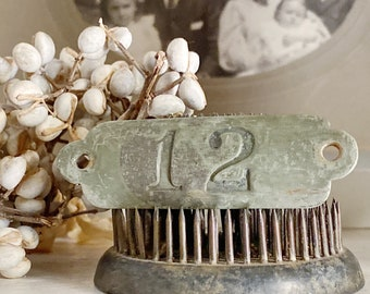 Antique Brass Number 12 Sign House Room Plate Locker Cow Tag Farmhouse French Country Chic Industrial Salvage Decor Jewlery Parts