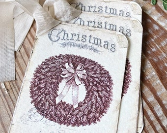Christmas Vintage Gift Tags JOYEUX NOEL WREATH Farmhouse Christmas Decor Card French Shabby Gift Wrap