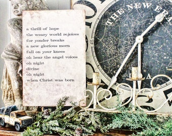 Oh Holy Night Sign Wood Vintage Christmas Decor LARGE Poster Mounted Farmhouse Christmas Decor Book Page Primitive Decor Thrill Of Hope