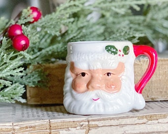 Vintage Ironstone Santa Claus Cup Mug FULL SIZE Santa Hand Painted Farmhouse Christmas Decor
