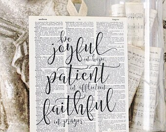 Be Joyful In Hope Patient Faithful Vintage Dictionary Art Print Book Page Wall Sign Farmhouse Decor Romans Bible Scripture