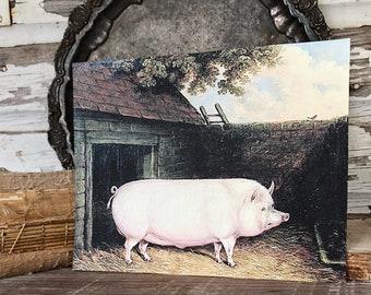 Vintage PIG Wood Sign Primitive Farmhouse Decor Illustration Book Page Wall Art Print Pasture Farm Antique Image
