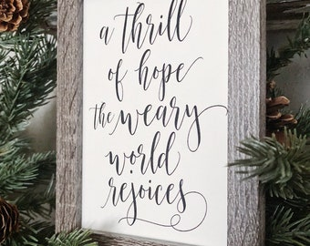 Vintage Christmas THRILL OF HOPE Framed Sign Farmhouse Christmas Decor Barn Wood Rustic Christmas Sign Oh Holy Night