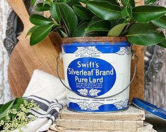 Antique SWIFTS SILVERLEAF Pure Lard Bucket Pail BLUE Galvanized Metal Farmhouse Decor Industrial Salvage Decor Primitive Kitchen Decor 4 lbs