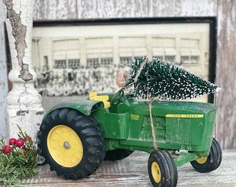 Vintage Green JOHN DEER TRACTOR With Flocked Green Bottle Brush Tree Chippy White Vintage Toy Farmhouse Christmas Decor