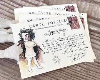 CHERUB Christmas Gift Tags Vintage POST CARD Farmhouse Decor Card French Shabby Gift Wrap Christmas Tree Ornament