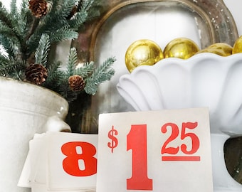 Vintage Price Tag Number Card Sign RED Farmhouse Decor Cardboard Christmas Decor Grocery Salvage USA