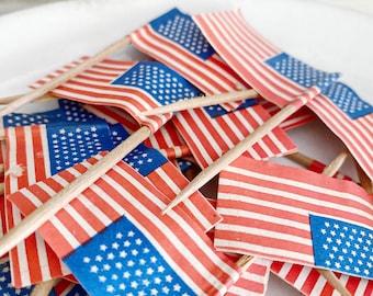Vintage AMERICAN FLAG Toothpick Topper Paper Pick Stars Stripes Banner Shabby Farmhouse Decor Favor Americana USA Set of Ten