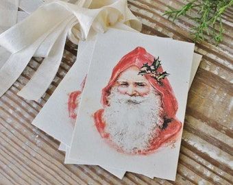 SANTA Christmas Gift Tags Vintage SANTA CLAUS Classic Farmhouse Christmas Decor Christmas Card French Shabby Gift Wrap