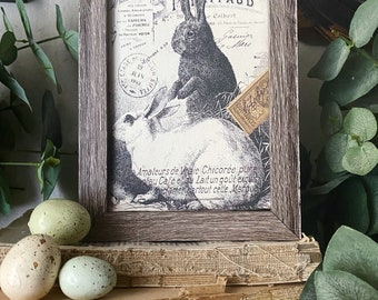 EASTER RABBITS BUNNY Framed Sign Post Card French Farmhouse Decor Barn Wood
