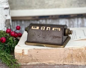Antique Perpetual Calendar Desk Brass Industrial Office Salvage Supply Farmhouse Gold Metal PARK SHERMAN Co