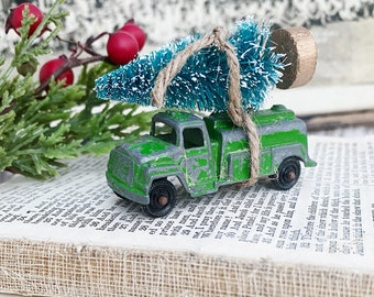 Christmas GREEN TRUCK With Flocked GREEN Bottle Brush Tree Vintage Toy Farmhouse Christmas