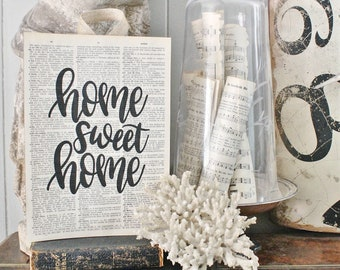 HOME SWEET HOME Sign Vintage Dictionary Art Print Book Page Wall Sign Farmhouse Decor Housewarming Gift
