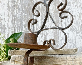Antique Wrought Iron Metal Candle Sconce Wall Mount Candle Holder Rustic Industrial Farmhouse Decor