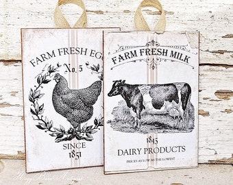 Farmhouse Wood Sign Wall Art Print Milk Eggs Grain Sack Chicken Cow Vintage French Country Primitive Farmhouse Decor SET OF 2