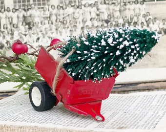 Vintage RED TONKA Trailer With Flocked GREEN Bottle Brush Tree Chippy Paint Vintage Toy Farmhouse Christmas