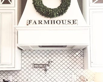 FARMHOUSE Sign Salvage Barn Wood Chippy White Sign Farmhouse Decor Wall Reclaimed Rustic Architectural Painted Sign Fixer Upper Decor