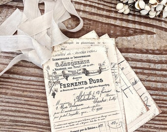French Receipt Gift Tags Vintage Ledger HOTEL Gift Tags Card French Writing Typography Shabby Farmhouse Decor
